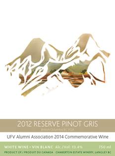 2014 Commemorative Wine label - 2012 Pinot Gris