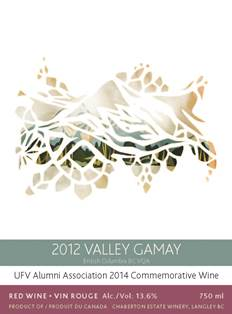 2014 Commemorative Wine label - 2012 Valley Gamay