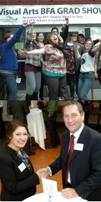 Top: BFA Grad Show Bottom: Tony Luck, BBA '96, BA '06; and a business mentee