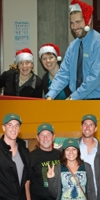 Top: Santa's Helpers decorating Alumni Hall Bottom: Athletic Alumni Chapter leaders with Tony Luck