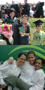 Graduation celebrations, Top: Beth Maenpaa, BA '09. Bottom: Culinary Arts graduates