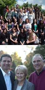 Top: Field trip group shot. Bottom: Donors Scott, Barbara and Dick Bate