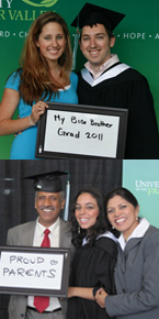 Proud family members celebrate with their grads