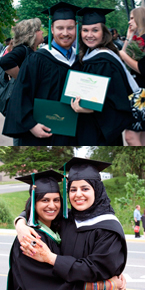 Top: BA Grads with their parchments Bottom: Sidrah Ahmed (R) celebrates with a friend.