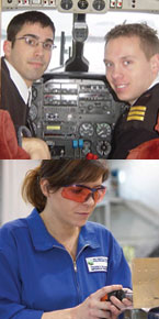 Top: Phillip Lopes, BBA '02 and Cam Eyjolfson, BBA '02; Bottom: Aircraft Structures student