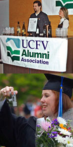 Top: Alumni Association Board members Mark Brosinski, BBA '02, and Susan Francis, BBA '00 selling Commemorative wine. Bottom: 2007 Graduate