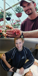 Top: UFV alumni rose developer, Brad Jalbert, Cert '89. Bottom: Andrea Northcott, Kinesiology