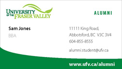 Sample Alumni Business Card